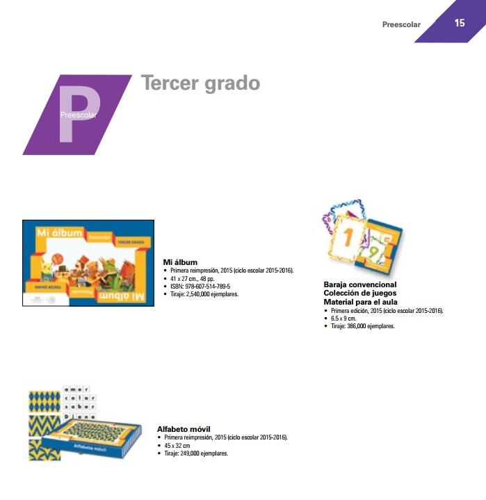 Preescolar Tercer grado Catalogo de Libros de Texto 2015-2016