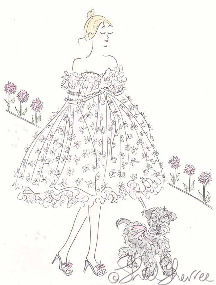Fashion & Fluffball illustration Dilly Dally in the Dahlias and Schnauzer  © Shell Sherree all rights reserved