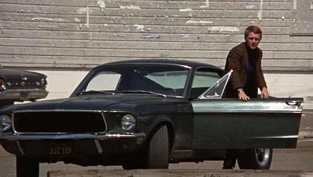 "Steve McQueen and 1968 Mustang GT in ""Bullitt"""