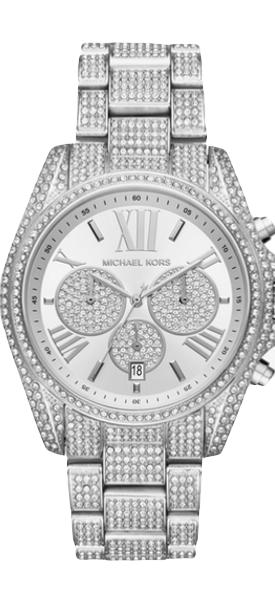 MICHAEL KORS Bradshaw Pavé Silver-Tone Watch