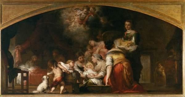 """""""O nascimento da Virgem"""" - Bartolomé Estéban Murillo - Pintada para a Capela de São Paulo na Catedral de Sevilha (1661)"""