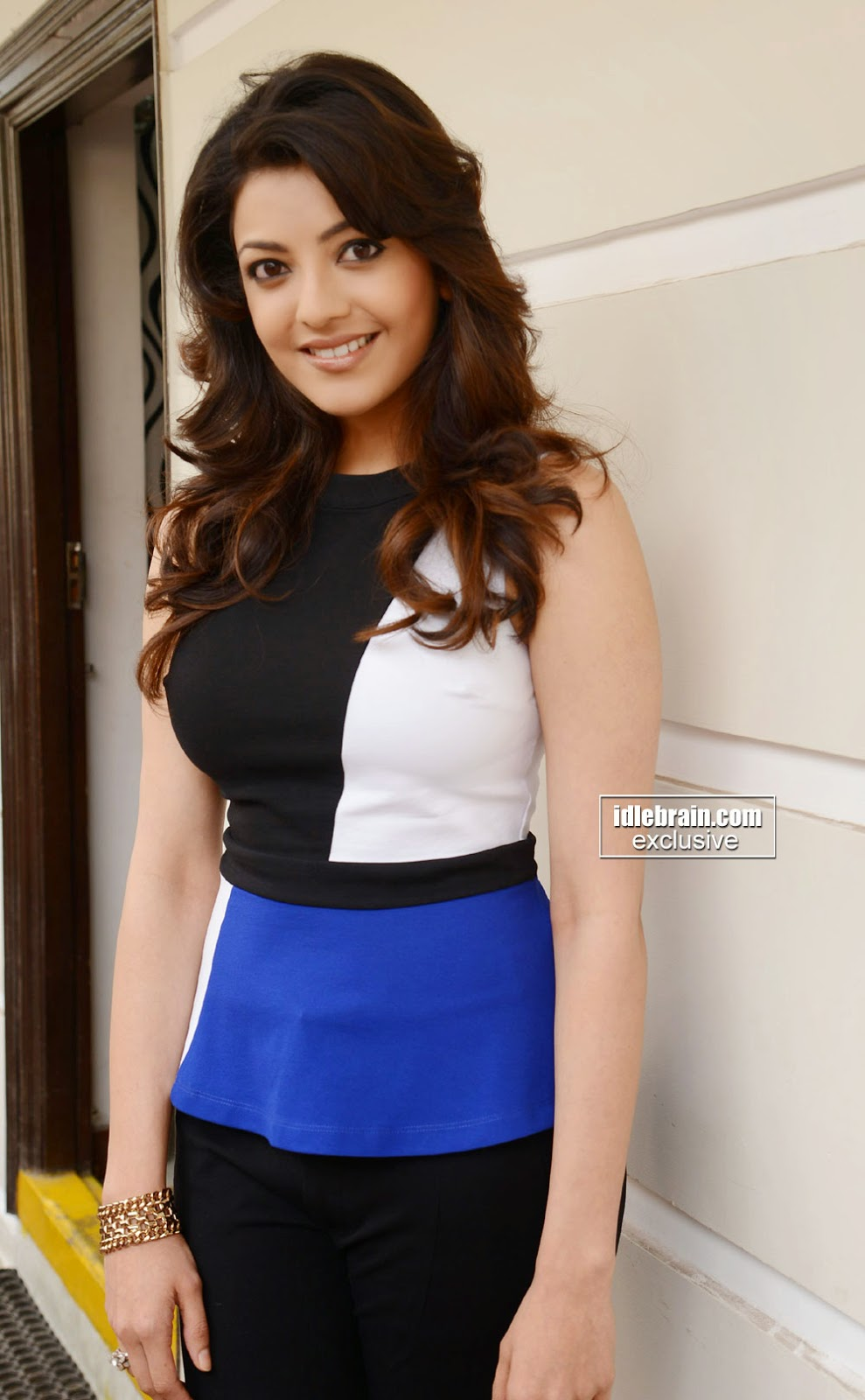 Kajal Agarwal Black Tight Pants seneste hot Cute Stills På-7107