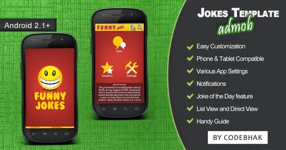 Make a jokes app app with mobile app templates from codecanyon.