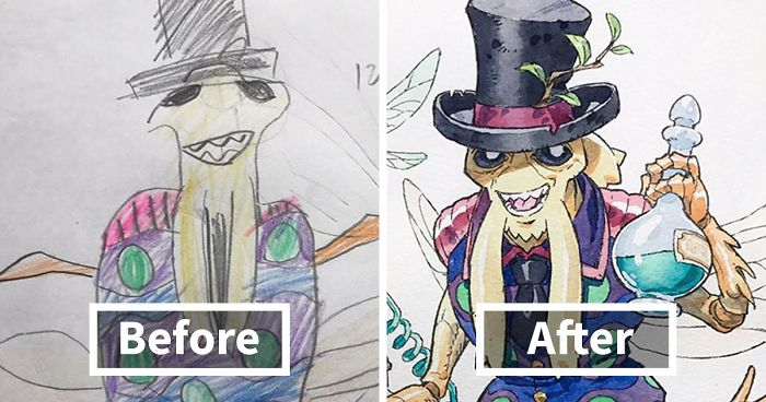 Amazing Father Turns His Son's Drawings Into Anime Cartoon, And The