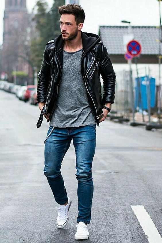 look masculino inverno com jaqueta preta