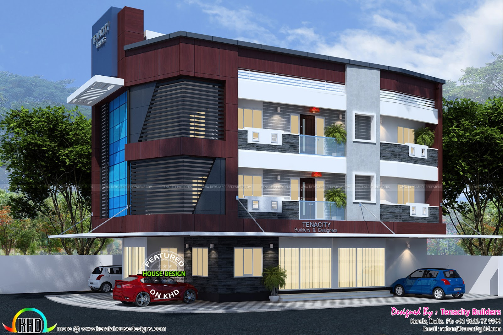 Home with business space on ground floor kerala home for Home building business plan