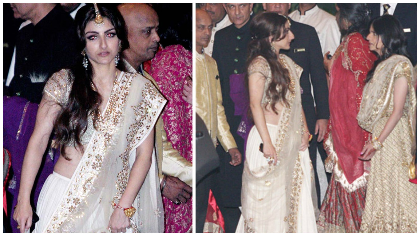 68bf8cb4cd For wedding she wore a gorgeous off-white lehenga with golden embroidery.