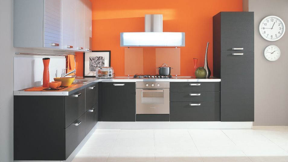 Modular Gray Kitchen Cabinets In Combination With Orange Kitchen Design