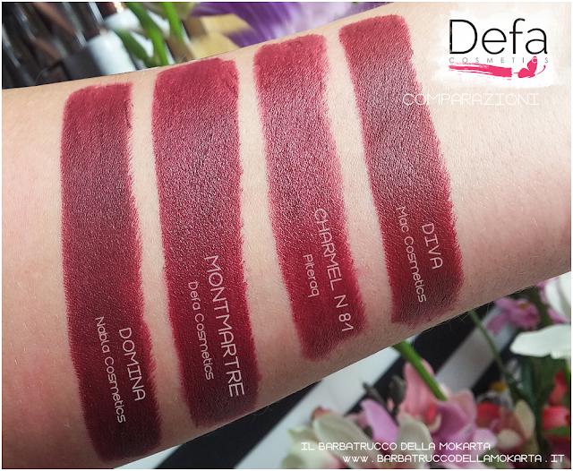 MONTMARTRE  comparazioni Defa cosmetics lipstick