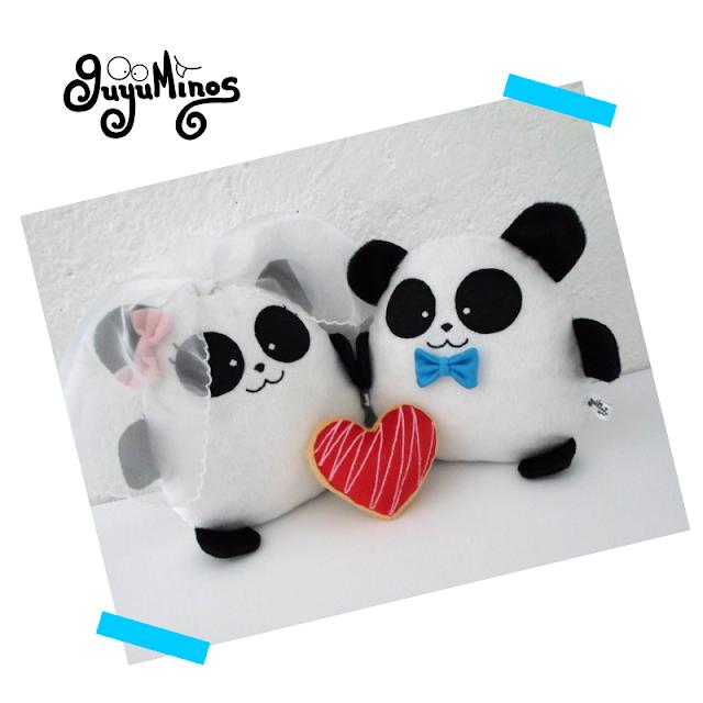 Pareja de boda personalizada, oso panda de peluche guyuminos amor  kawaii tierno regalo velo y corbata