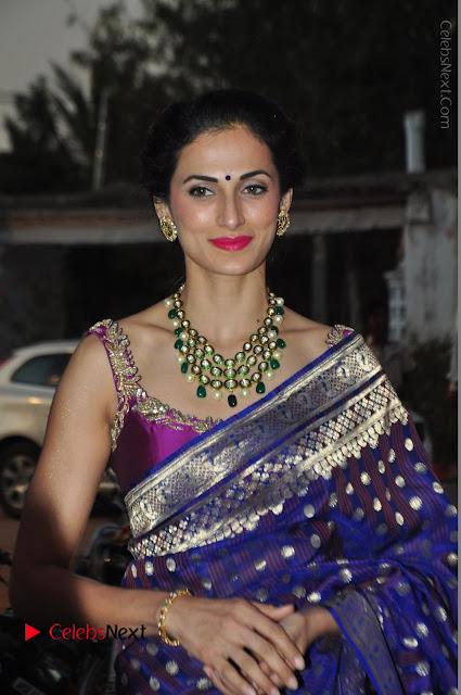 Model Shilpa Reddy Stills in Purple Silk Saree at Gudi Sambaralu 2017 Sri Ramachandra Swami Temple  0004.JPG