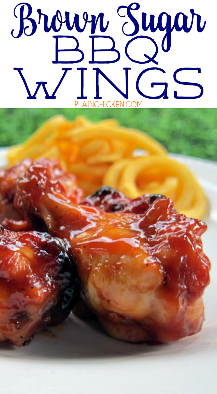 Brown Sugar BBQ Wings - chicken wings tossed in a quick homemade BBQ sauce and baked. Chicken drumettes, ketchup, brown sugar, worcestershire, mustard and cider vinegar. Can make sauce ahead of time. These things are SO good! Great for tailgates and parties. There are never any leftovers!
