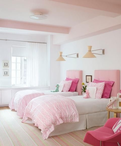 Shared Room in Pink and White, Love the Lights