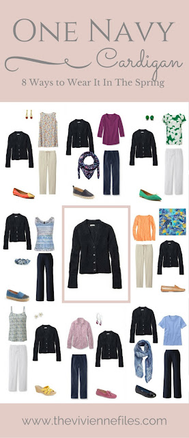 One navy blue cardigan - How to wear it 8 ways in a spring capsule wardrobe