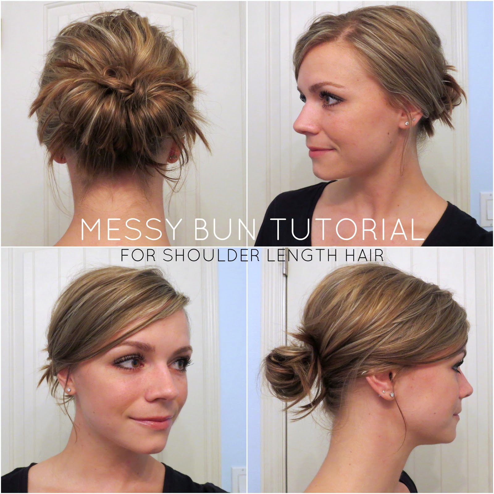 bye bye beehive │ a hairstyle blog: messy bun for shoulder length hair