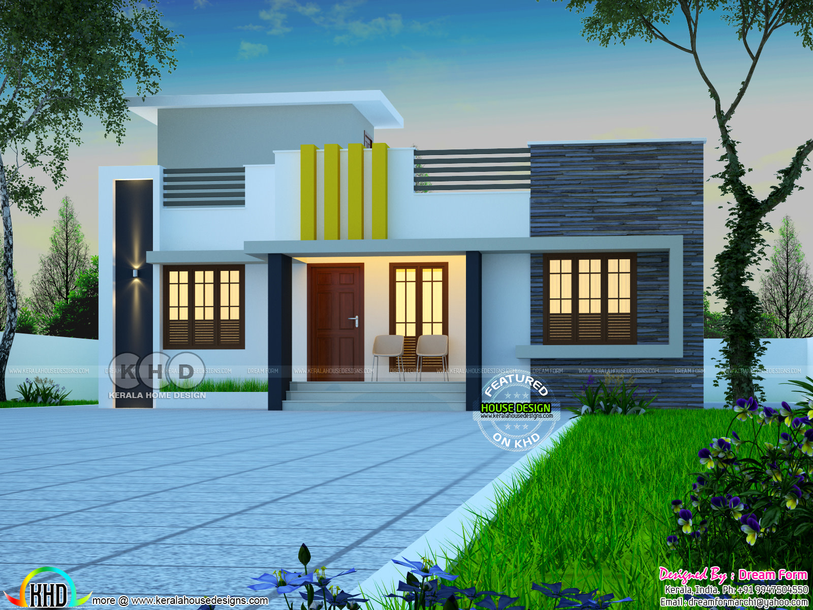 1078 sq ft low cost kerala home design kerala home for 1600 sq ft house cost