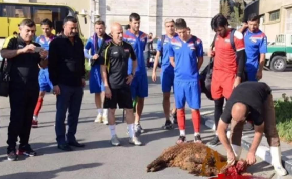 (VIDEO) Iraqi national team publicly sacrifice sheep so that they can qualify for Russia 2018 World Cup