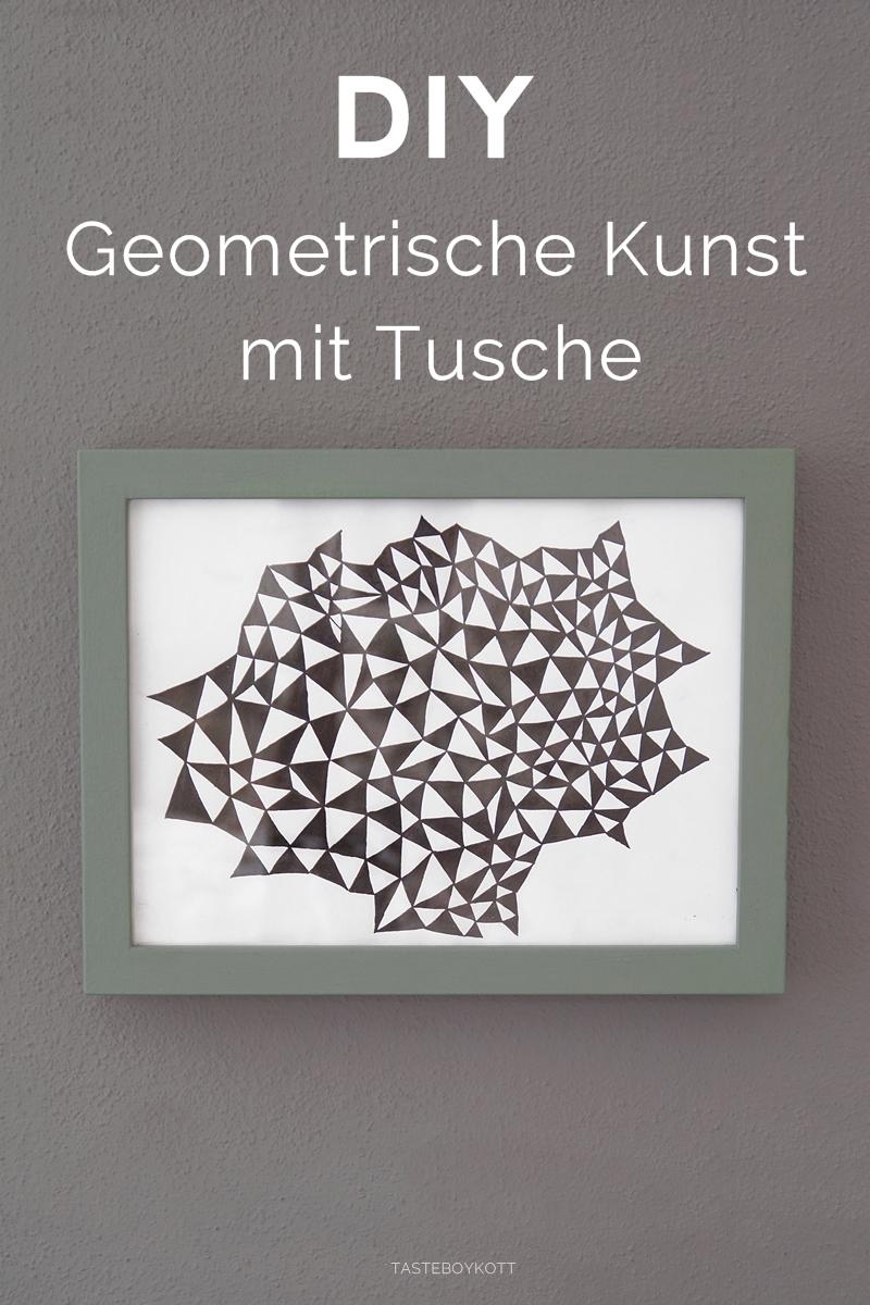 DIY geometrische Kunst: Dekoratives Bild mit Tusche in schwarz-weiß zeichnen. Tasteboykott