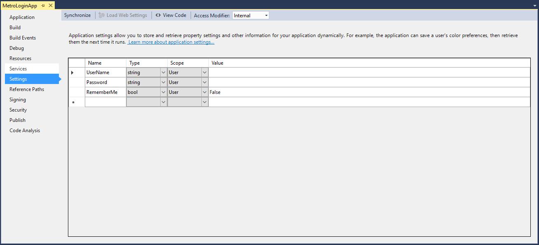 create user settings