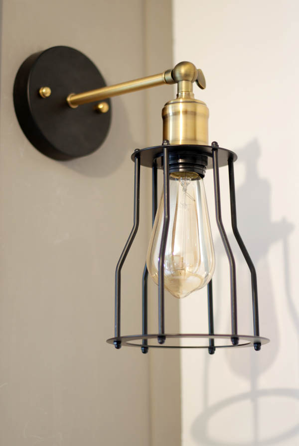 black and gold industrial, sconce, Edison bulb, lights, economical