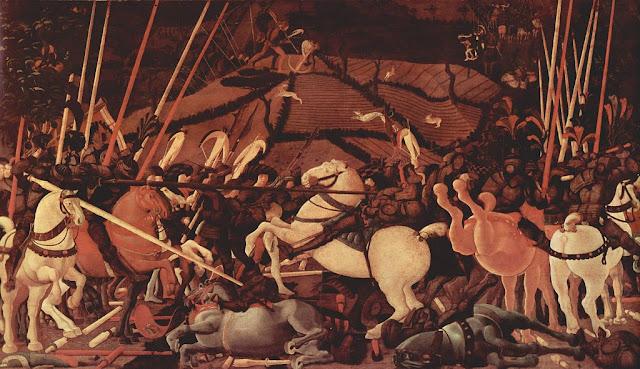 Paolo Ucello : La bataille de San Romano Bernardino della Ciarda désarçonné (Florence Les Offices