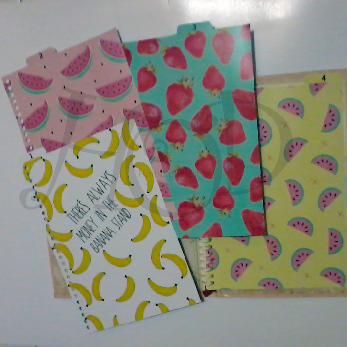 DIVIDER BINDER CUSTOM, PEMBATAS BINDER CUSTOM, PEMBATAS BINDER 26RING UKURAN B5 CUSTOM, PEMBATAS BINDER BANANA TUMBLR, PEMBATAS BINDER FRUITS