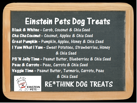Einstein Pets Dog Treats menu