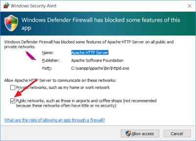 Windows Security Alert - Apache HTTP Sever