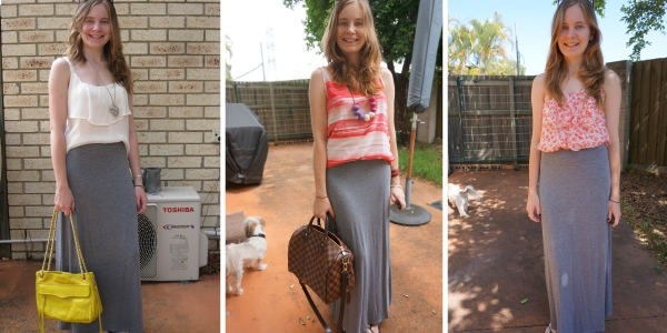 3 easy ways to wear a grey maxi skirt in summer | away from blue