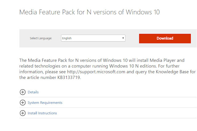 Download Media Feature Pack for N versions of Windows 10
