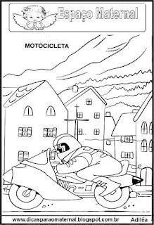 Desenho de motocicleta para colorir
