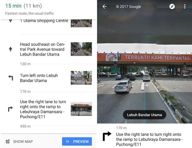 Google Maps menampilkan rute petunjuk arah lewat foto street view