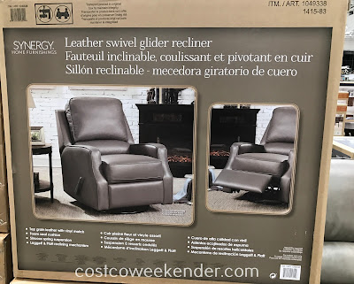 Costco 1049338 - Synergy Home Furnishings Leather Swivel Glider Recliner: perfect for a lazy day in front of the TV