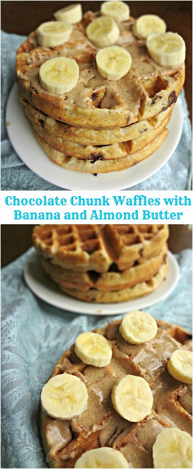 Chocolate Chunk Waffles with Banana and Almond Butter