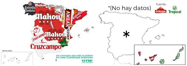 No hay datos de cervezas Canarias en el mapa de España