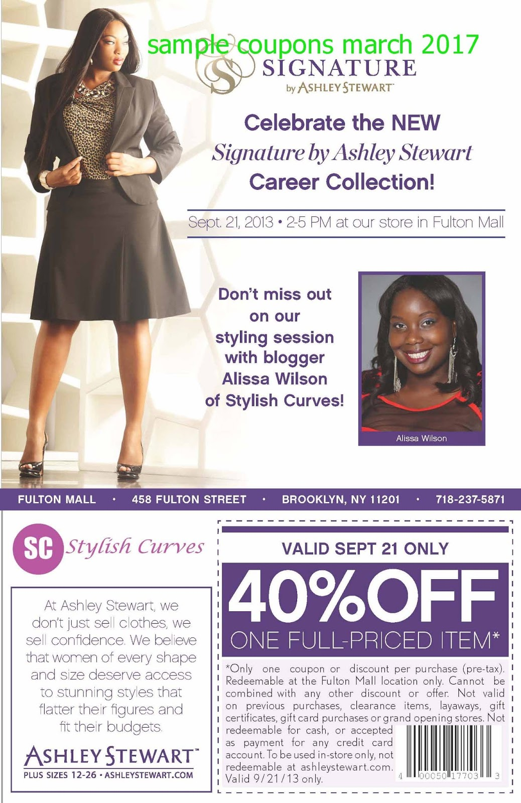 Past Ashley Stewart Coupon Codes