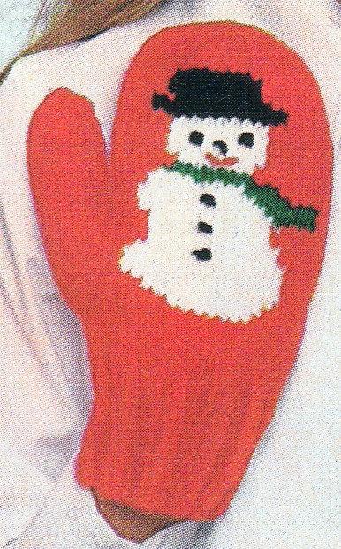 snowman christmas mittens gloves crochet pattern