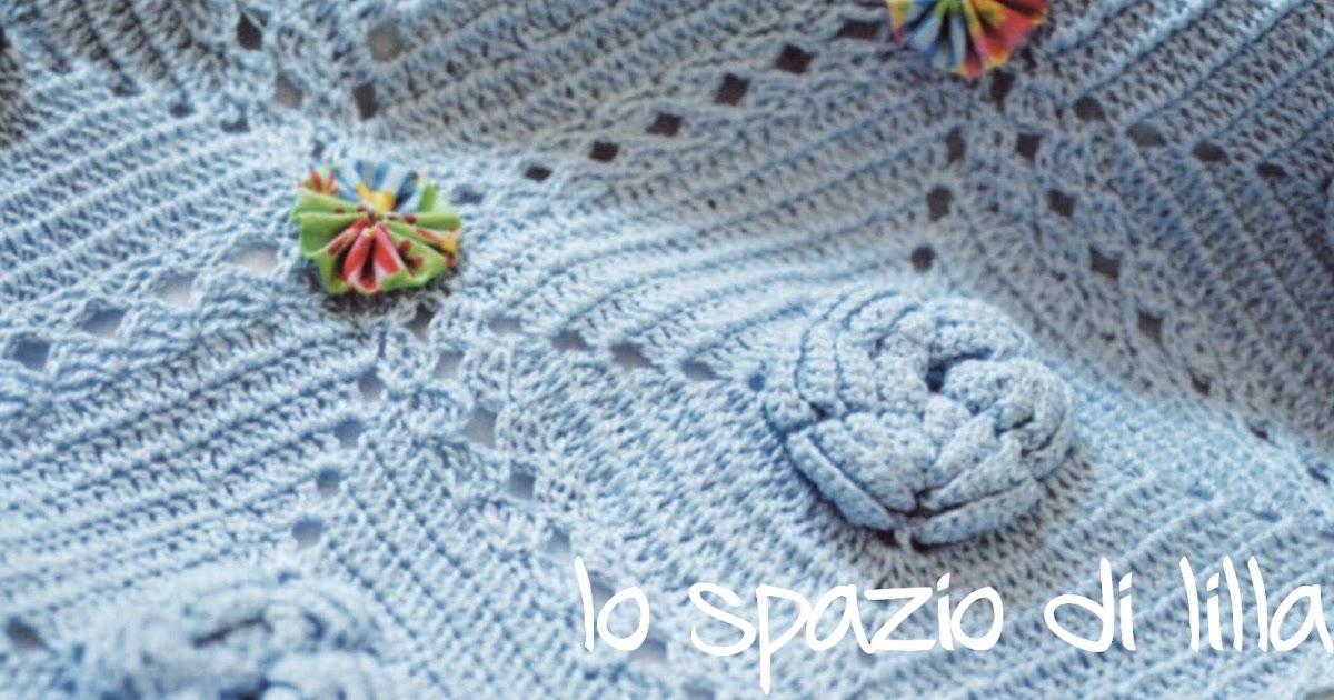 Lo spazio di lilla: copertina per neonato a piastrelle crochet con