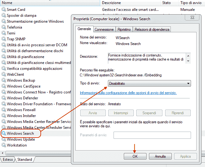Windows Vista e 7 - Disabilitare servizio indicizzazione