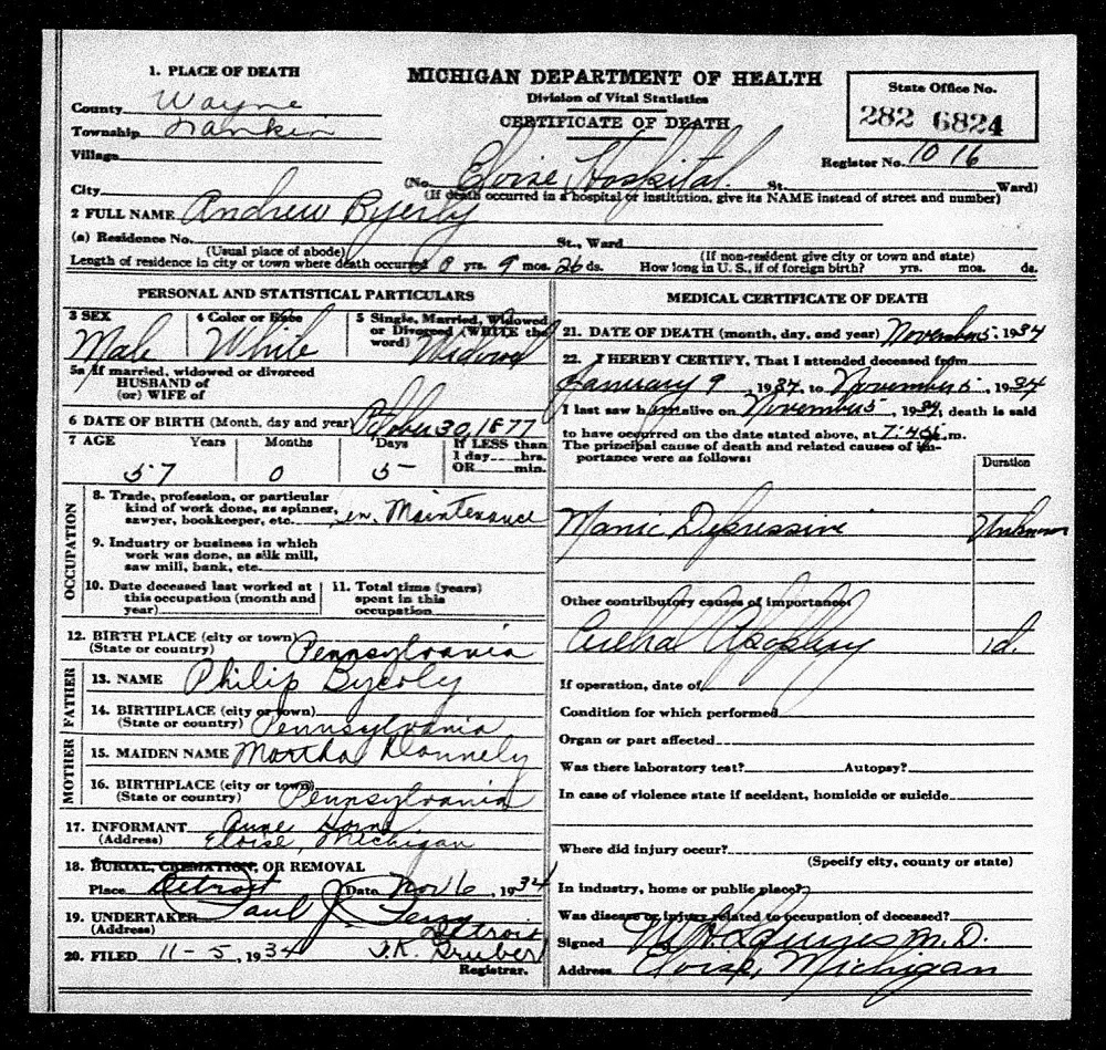 Allegheny Ancestry Genealogy Trails Michigan Death Certificates