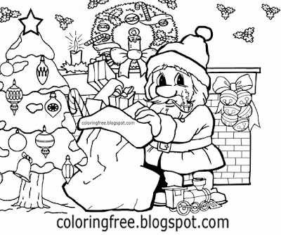 Original tree home simple but creative merry Christmas Santa Claus drawing for teenage kids coloring
