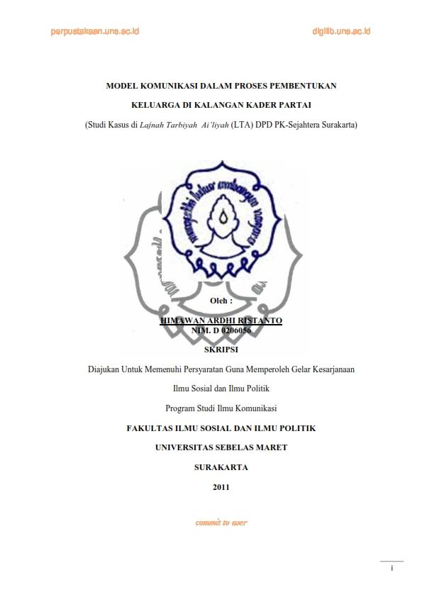 Risalah Tarbiyah Skripsi Model Komunikasi Dalam Proses Pembentukan Keluarga Di Kalangan Kader Pks