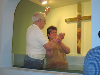 Laurel being immersed at Mt. Zion GB Church, Wadesville, IN