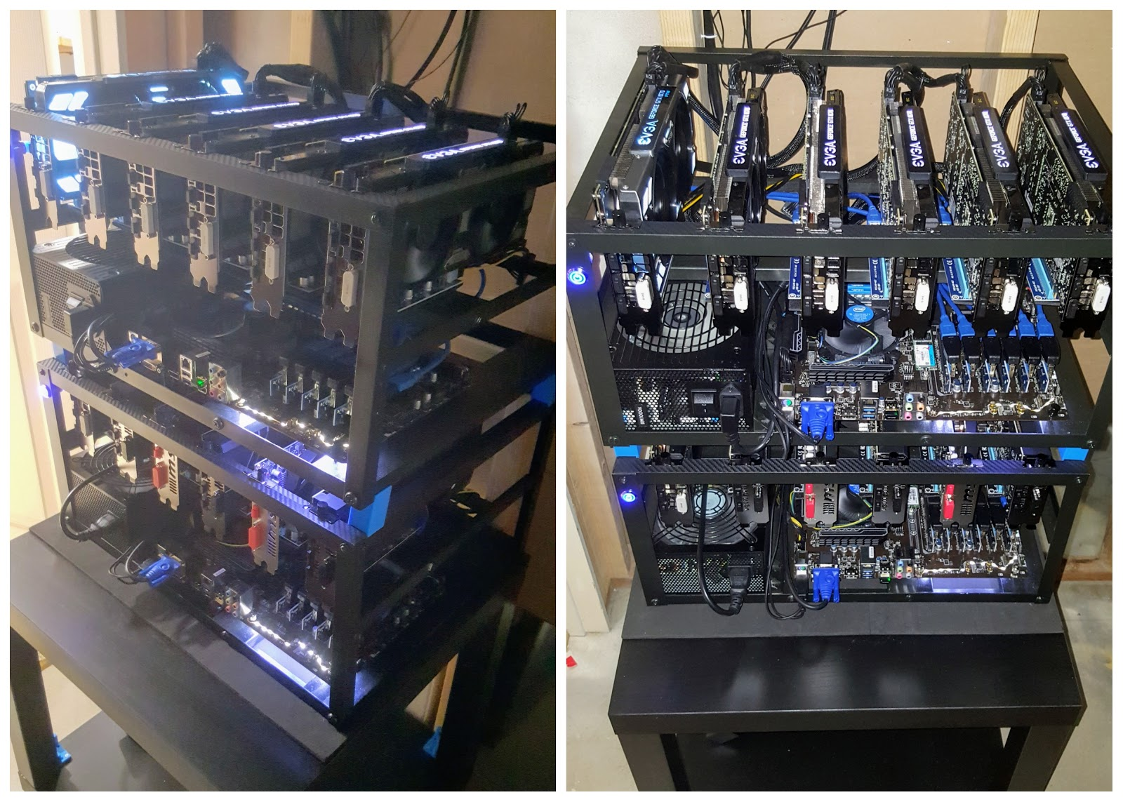 how to make a shoe rack mining rig