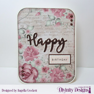 Divinity Designs Stamp/Die Duos: Happy, Custom Dies: Double Stitched Rounded Rectangles,  Rounded Rectangles, Double Stitched Rectangles, Paper Collection: Romantic Roses