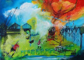 manchester unites, old trafford, alex fergusson, football, fodbold, tribute, sejr, kunst,art, artist, maleri, dansk kunst,