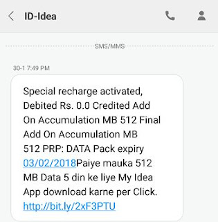 Get Free 512 MB DATA For ALL IDEA User on MI 4