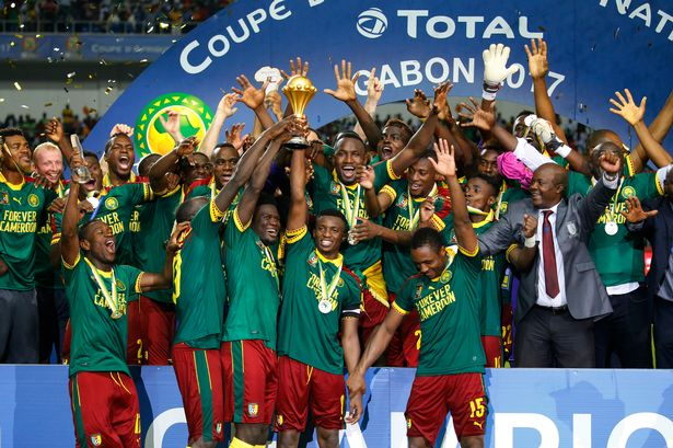 Cameroon celebrates after their 2-1 victory over Egypt in the final
