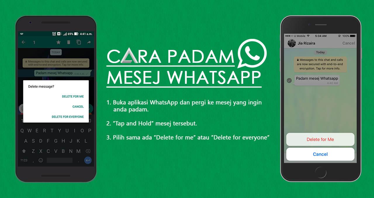 Cara Padam Mesej Pada WhatsApp