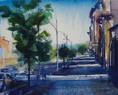 A watercolor painting of Canandaigua NY.
